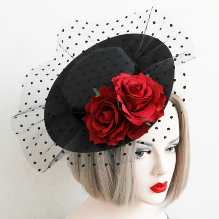 Top Hat with Net Burlesque Fascinator Vintage Lace Vine Halloween Costume Accessories