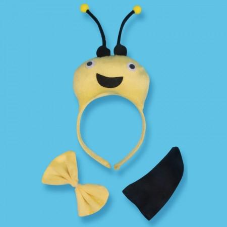 Bee Headband Bow Tail Set Kids Animal Farm Zoo Party Performance Headpiece Fancy Dress Costume Kit Accessory