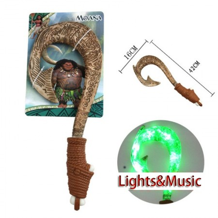 Moana Waialiki Maui Heihei Weapons Fish Hook Lights Music Action Figures Toy