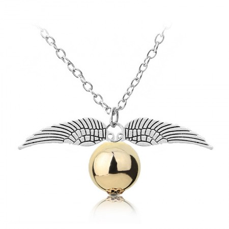 Harry Potter Quidditch Golden Snitch Gold Pocket Necklace Deathly Hallows