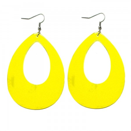Yellow Teardrop Earrings Neon 80s Retro Rock Star