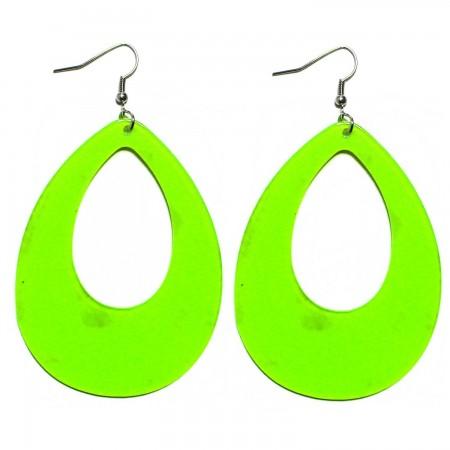 Green Teardrop Earrings Neon 80s Retro Rock Star