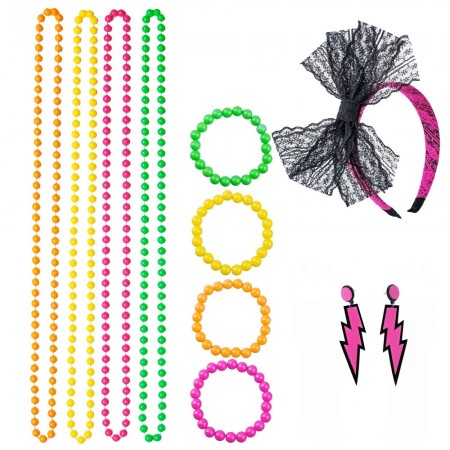 Coobey 80s Neon Bracelet Necklace Bow Headband Lighting Earring