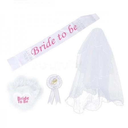 White Hen's Night Ladies Girls Bride to Be Bachelorette Party Sashes Badge Sash Garter Veil Costume Accessory