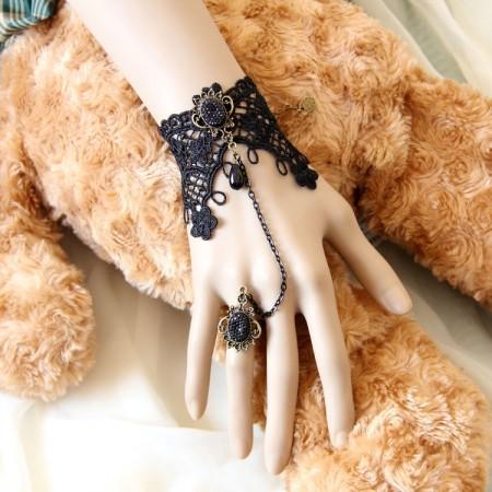 Vintage Lace Vine Chain Cuff Bracelet Ring Set Halloween Jewelry