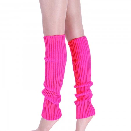 Hot Pink Womens Pair of Party Legwarmers Knitted Dance 80s Costume Leg Warmers