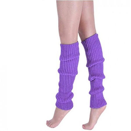 Purple Womens Pair of Party Legwarmers Knitted Dance 80s Costume Leg Warmers