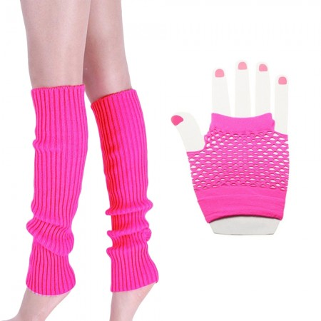 Pink 80s Neon Fishnet Gloves Leg Warmers Accessory Set