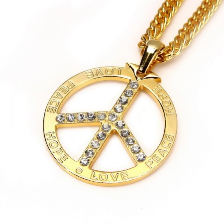 Golden Deluxe Metal Peace Sign Symbol Pendent 70s 80s Hippie Boho Jewelry Costume Necklace Accessary