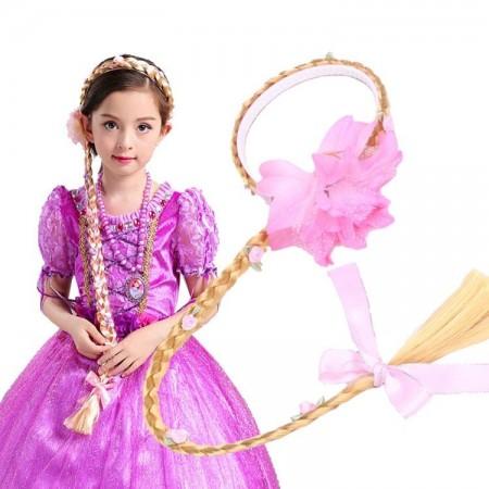 Girls Disney Princess Wig Headband Hair Plait with Pink Flower