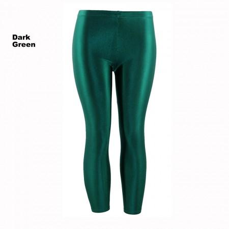 Dark Green 80s Shiny Neon Costume Leggings Stretch Fluro Metallic Pants Gym Yoga Dance
