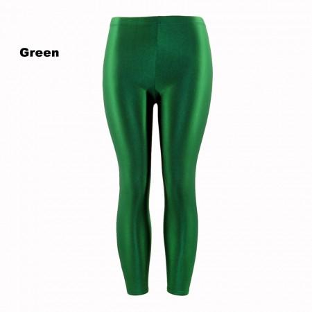 Green 80s Shiny Neon Costume Leggings Stretch Metallic Pants