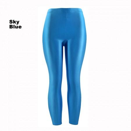 Sky blue 80s Shiny Neon Costume Leggings Stretch Metallic Pants