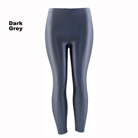 Dark Grey 80s Shiny Neon Costume Leggings Stretch Fluro Metallic Pants