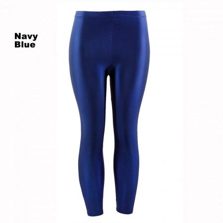 Navy Blue 80s Shiny Neon Costume Leggings Stretch Fluro Metallic Pants Gym Yoga Dance