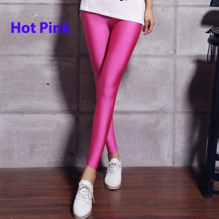 Hot Pink 80s Shiny Neon Costume Leggings Stretch Metallic Pants