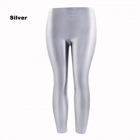 Silver 80s Shiny Neon Costume Leggings Stretch Fluro Metallic Pants Gym Yoga Dance