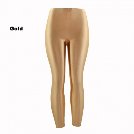 Gold 80s Shiny Neon Costume Leggings Stretch Fluro Metallic Pants Gym Yoga Dance