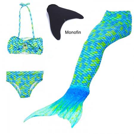 Girl Kids Swimmable Mermaid Tail With Monofin Bikini Bathing Swimsuit Costume