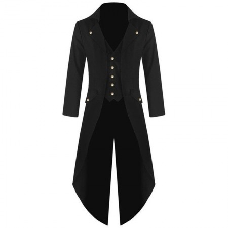 Black Mens Steampunk Vintage Tailcoat Jacket Gothic Victorian Frock Coat Business Suit Ringmaster Magician
