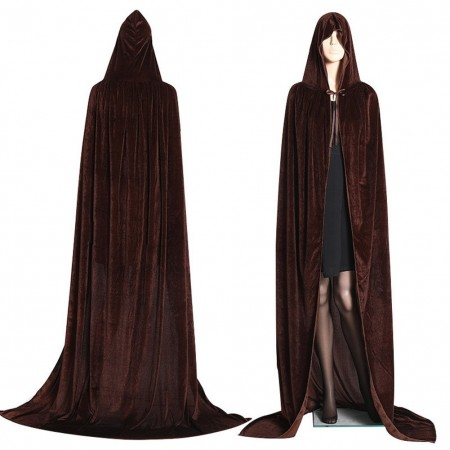 Coffee Kids Hooded Velvet Cloak Cape Wizard Costume