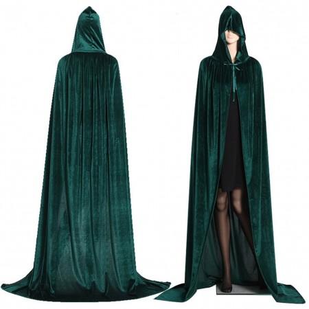 Green Adult Hooded Velvet Cloak Cape Wizard Costume