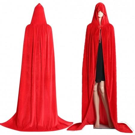 Red Adult Hooded Velvet Cloak Cape Wizard Costume