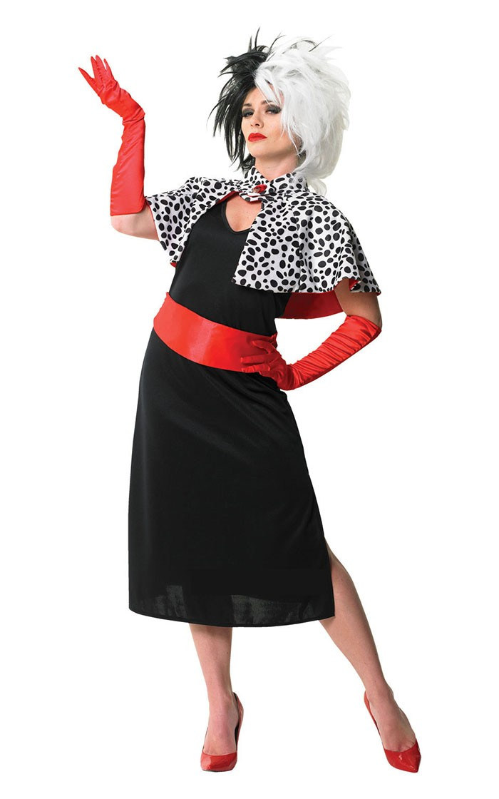 Womens Evil Madame Cruella De Ville 101 Dalmations Fancy Dress Costume +  Cigarette Holder + Wigs 798d30028