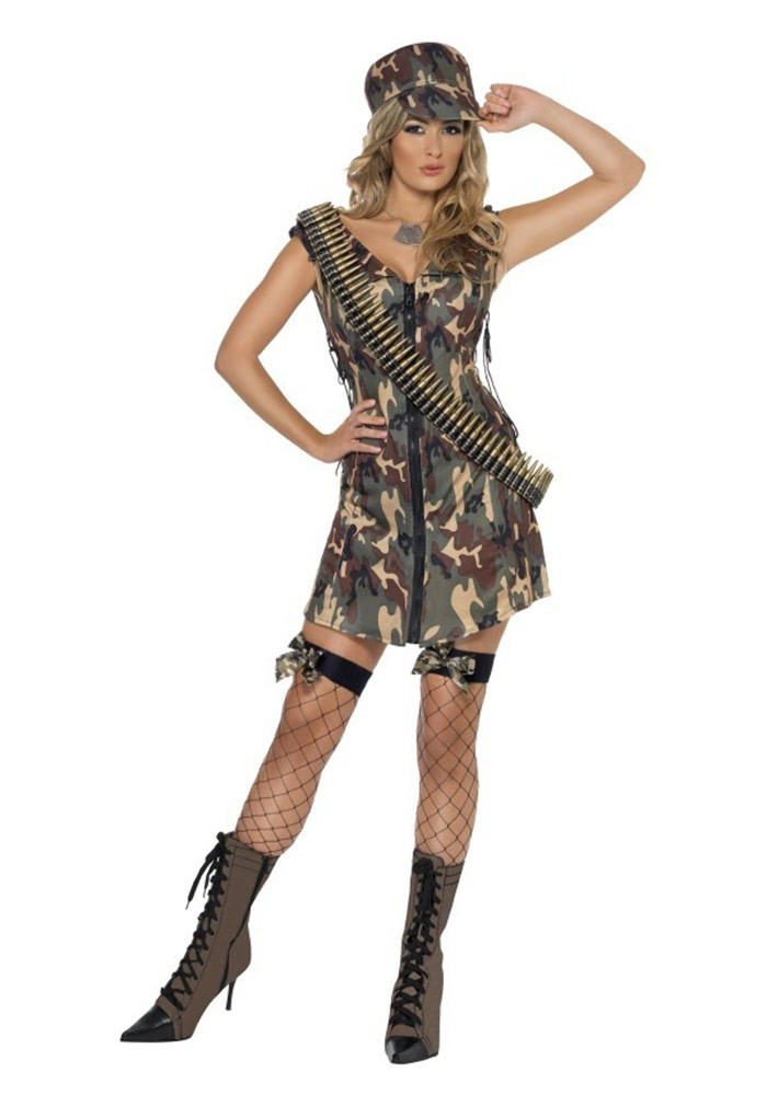 Smiffys Licensed Ladies Fever Army Girl Flight Combat Military Police Soldier Fancy -6723