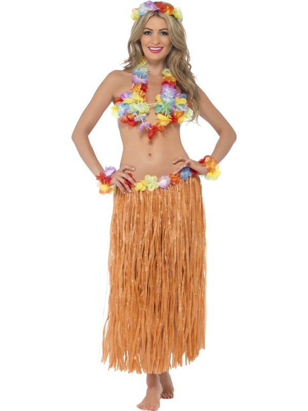 dad3c063a Adults Hula Honey Instant Kit Hawaiian 5pc Fancy Dress Grass Skirt Luau  Outfit Smiffys Fancy Dress Costume Outfit Accessories