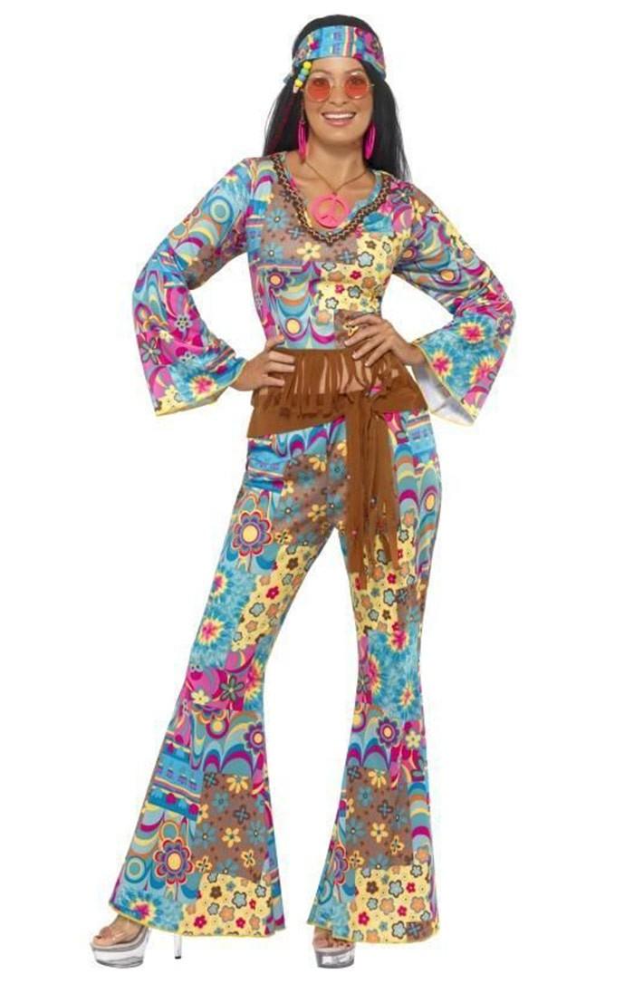 Women/'s Pink Flared Trousers Hippie Disco Flower Power Fancy Dress Costume Hen