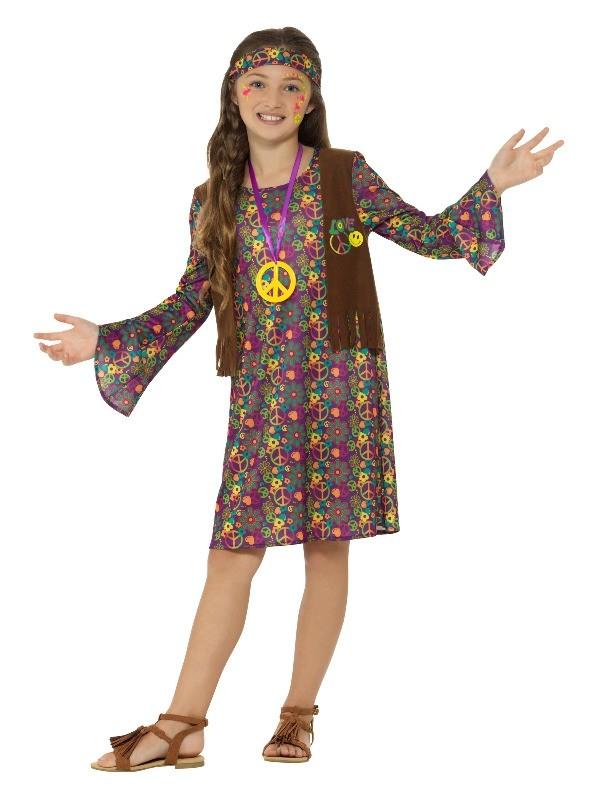 Flower Power 1960s 1970s Hippie Hippy Woodstock Disco Mens Fancy Dress Costume