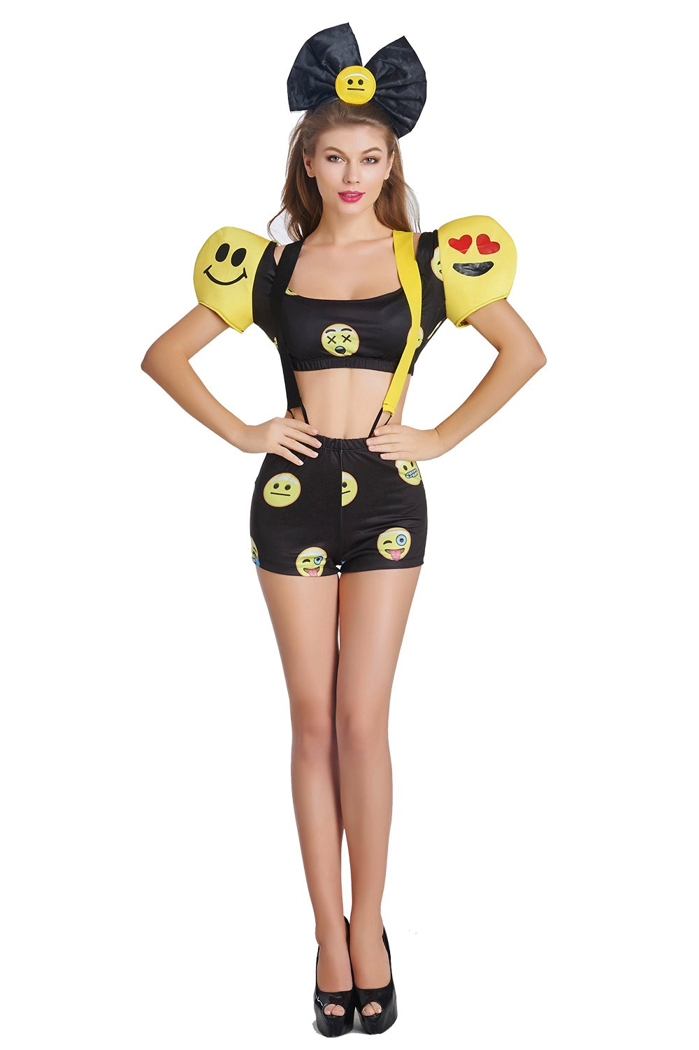 Ladies Happy Face Emoji Dress Halloween Party Fancy Dress Costume Outfit