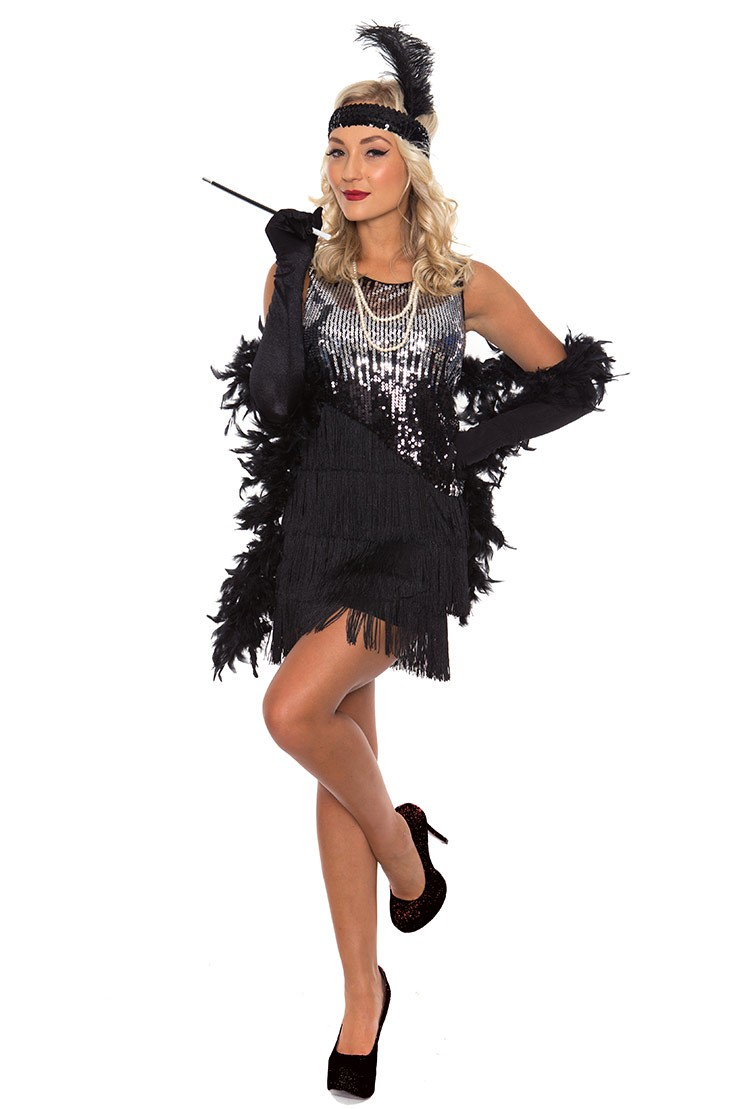 4cf26600f5ae 1920 flapper costumes Australia - Ladies 20s 1920s Charleston Flapper  Chicago Fancy Dress Costume With Necklace