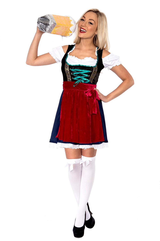 Ladies Oktoberfest Beer Maid Costume Wench German Dirdnl Gretchen Fancy Dress