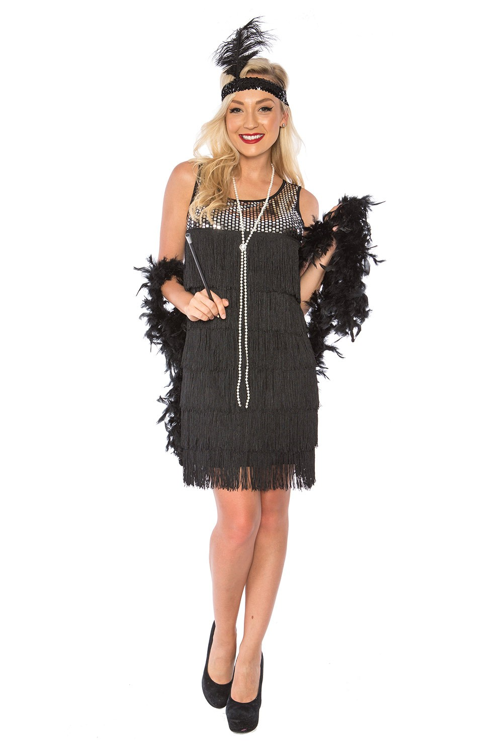 9dabbe5431f ... Womens Black Charleston Gatsby Costumes Plus Size AU. 1920s flapper  costumes LH187 1