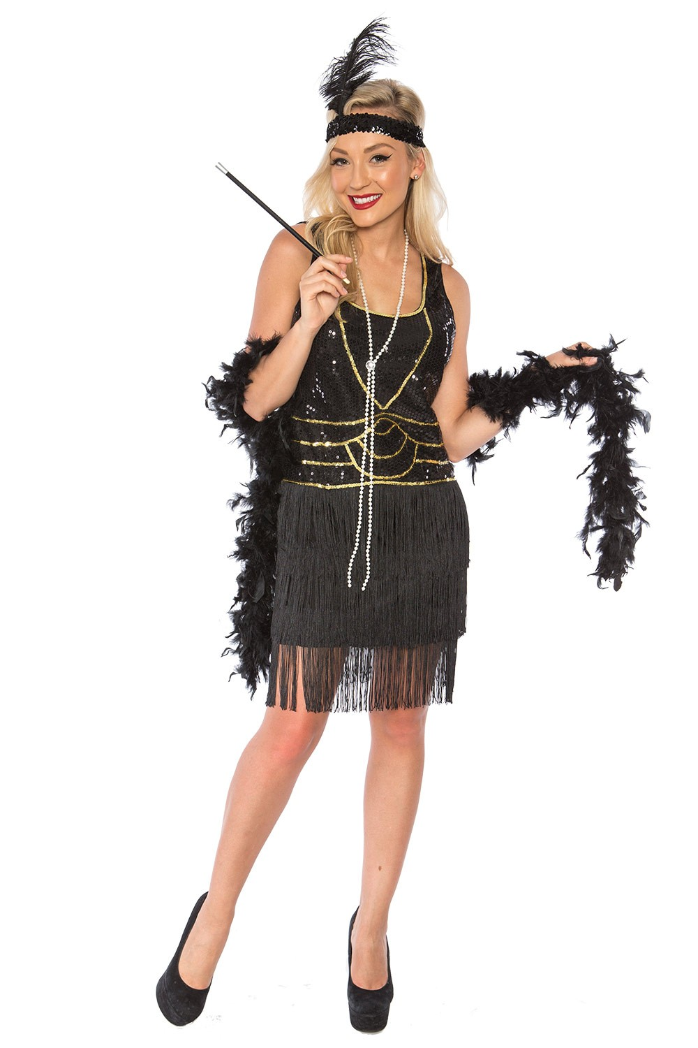 ladies 1920s roaring 20s flapper costume sequin ganster