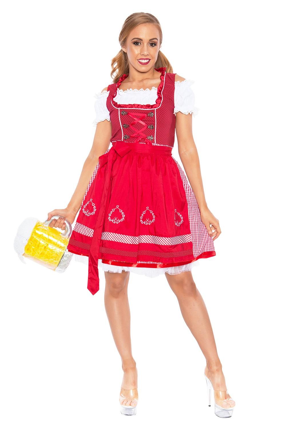 Red Oktoberfest Costume Beer Girl Wench Fancy Dress German Heidi Bavarian Outfit