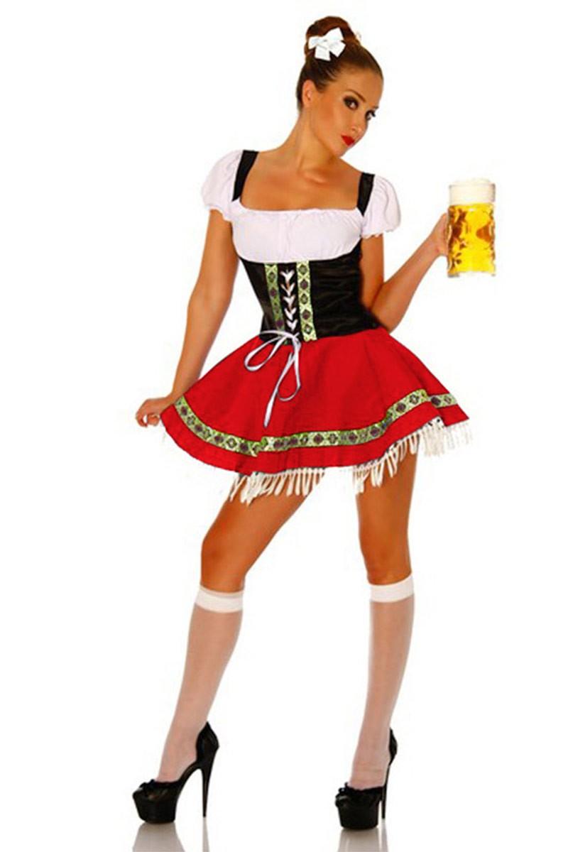 Ladies Beer Maid Oktoberfest Costume Gretchen German Fancy Dress Heidi Wench