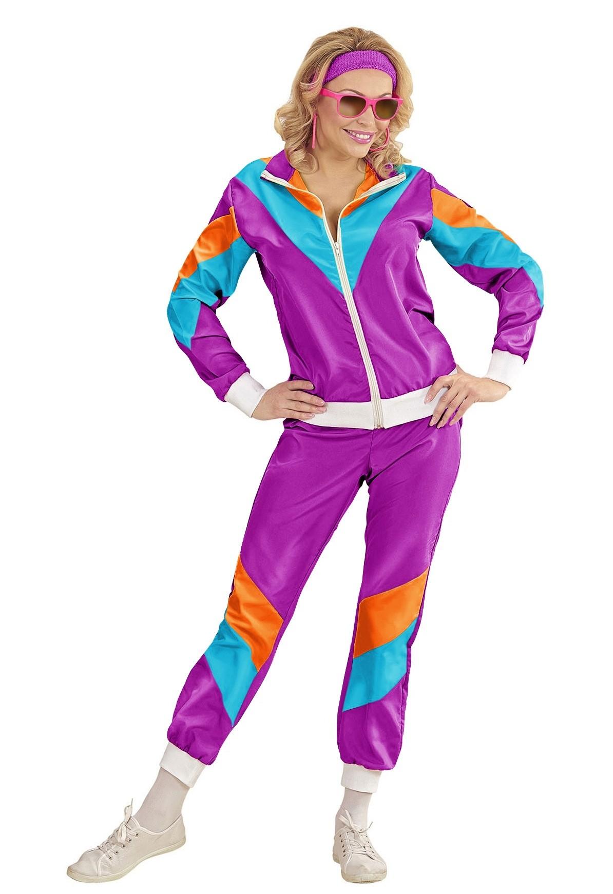 Purple 80s tracksuit costume fashion women