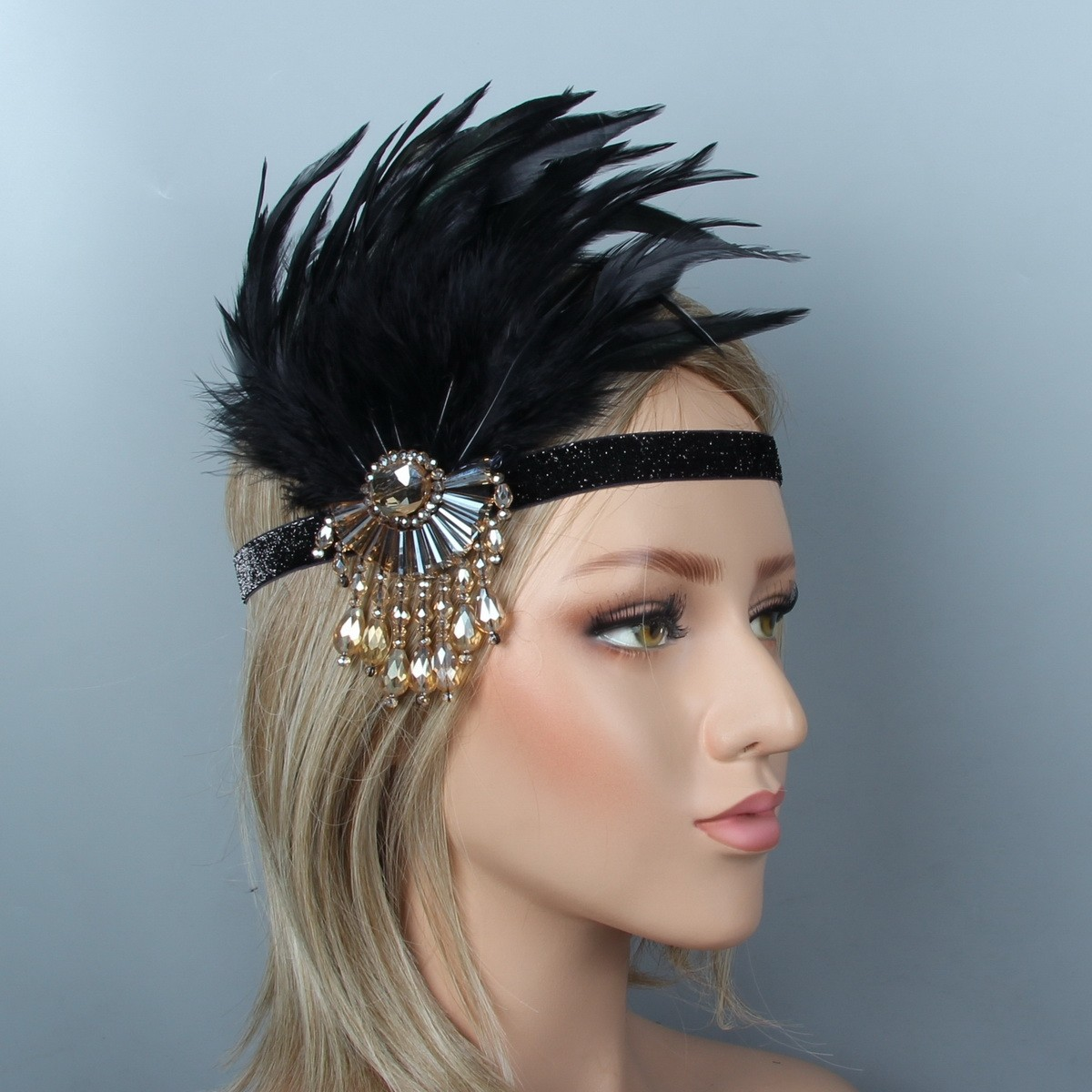 1920s Headband Vintage Bridal Gatsby 20s Flapper Feather Gangster 20/'s Headpiece