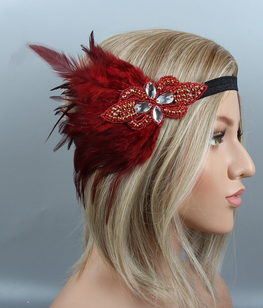 1920s Headband Red Feather Bridal Great Gatsby 20s Flapper Headpiece Gangster
