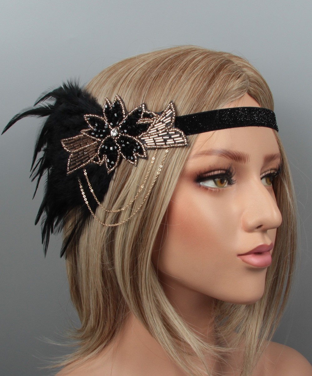 1920s Headband Beige Black Feather 20/'s Great Gatsby Flapper Headpiece Gangster