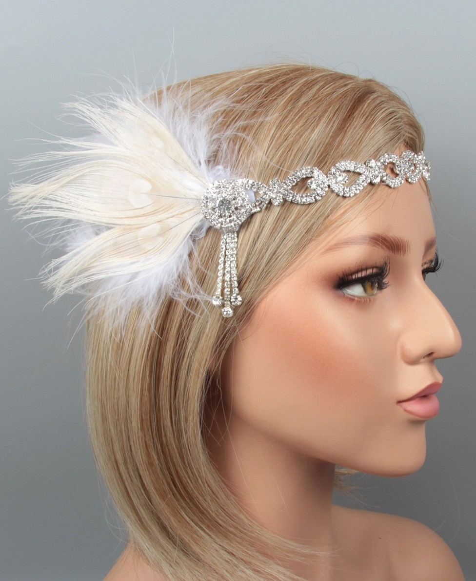 1920s Headband Feather Vintage Bridal Great Gatsby Flapper