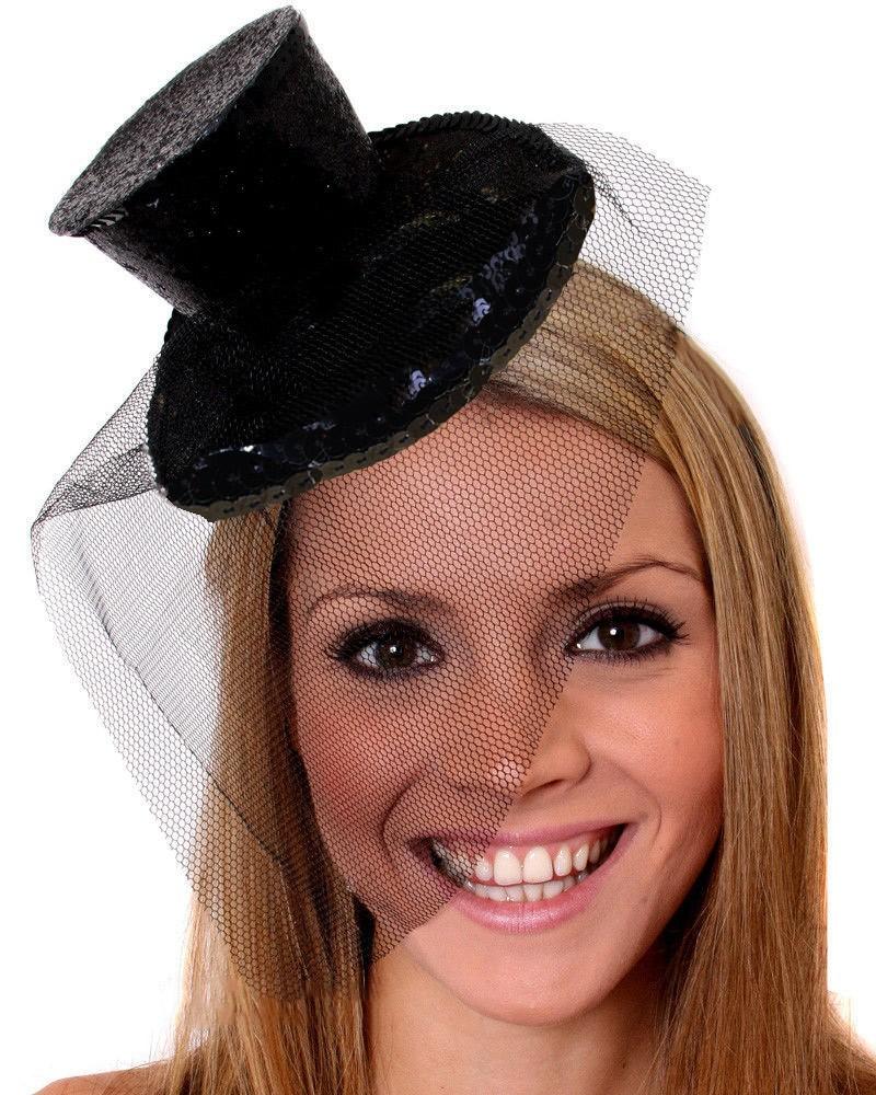 Ladies Fever Mini Glitter Top Hat On Headband Fancy Dress Costume Accessory