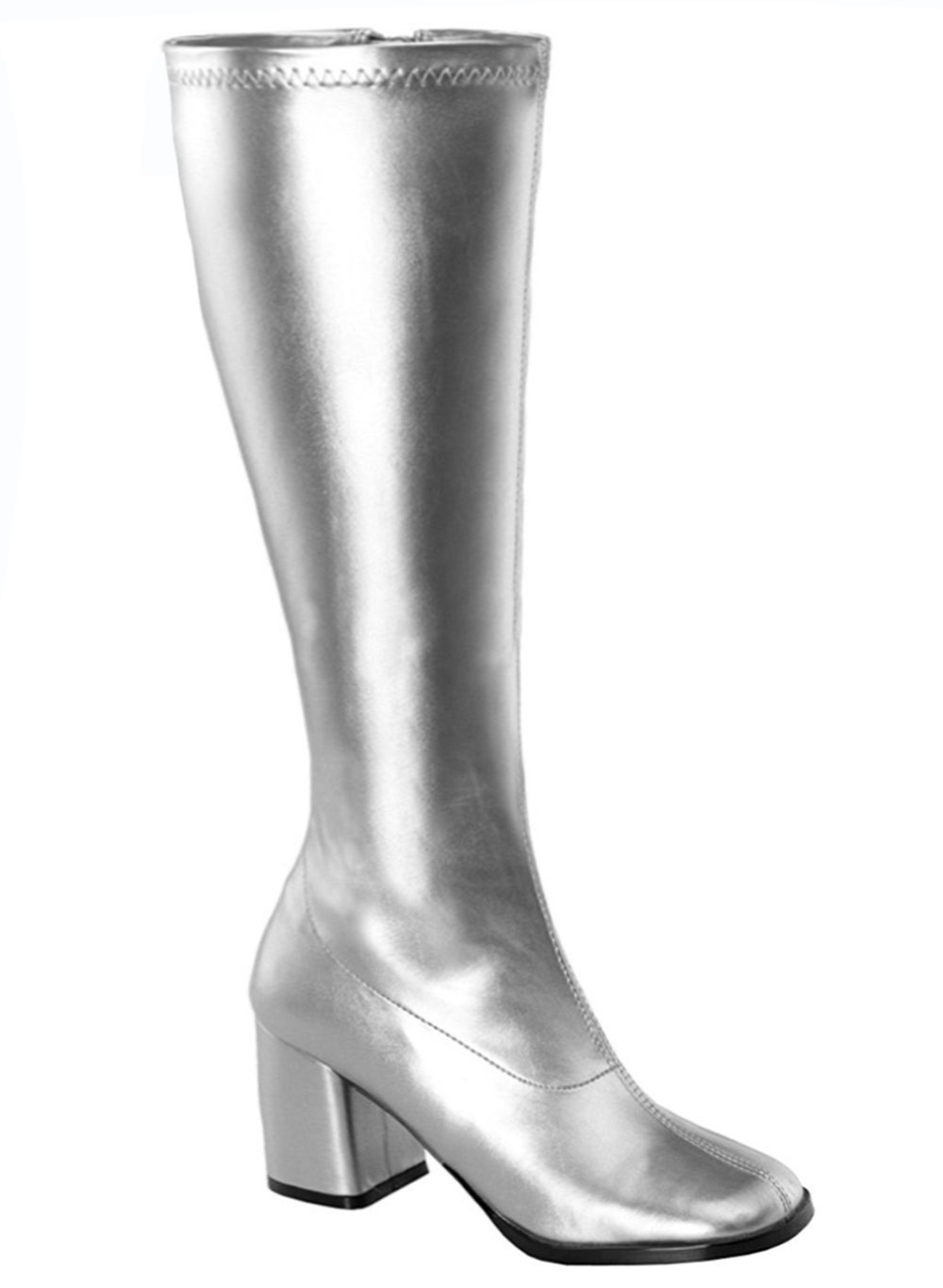 6e0a929087b Ladies Go Go Silver Knee High Wide fit Adult Women Boots Shoes Hippy 60 70  Disco