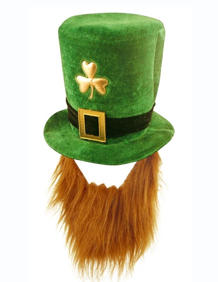 5841b9fcdd8da PLUSH LEPRECHAUN HAT WITH BEARD ST PATRICKS DAY NOVELTY ADULT irish ...