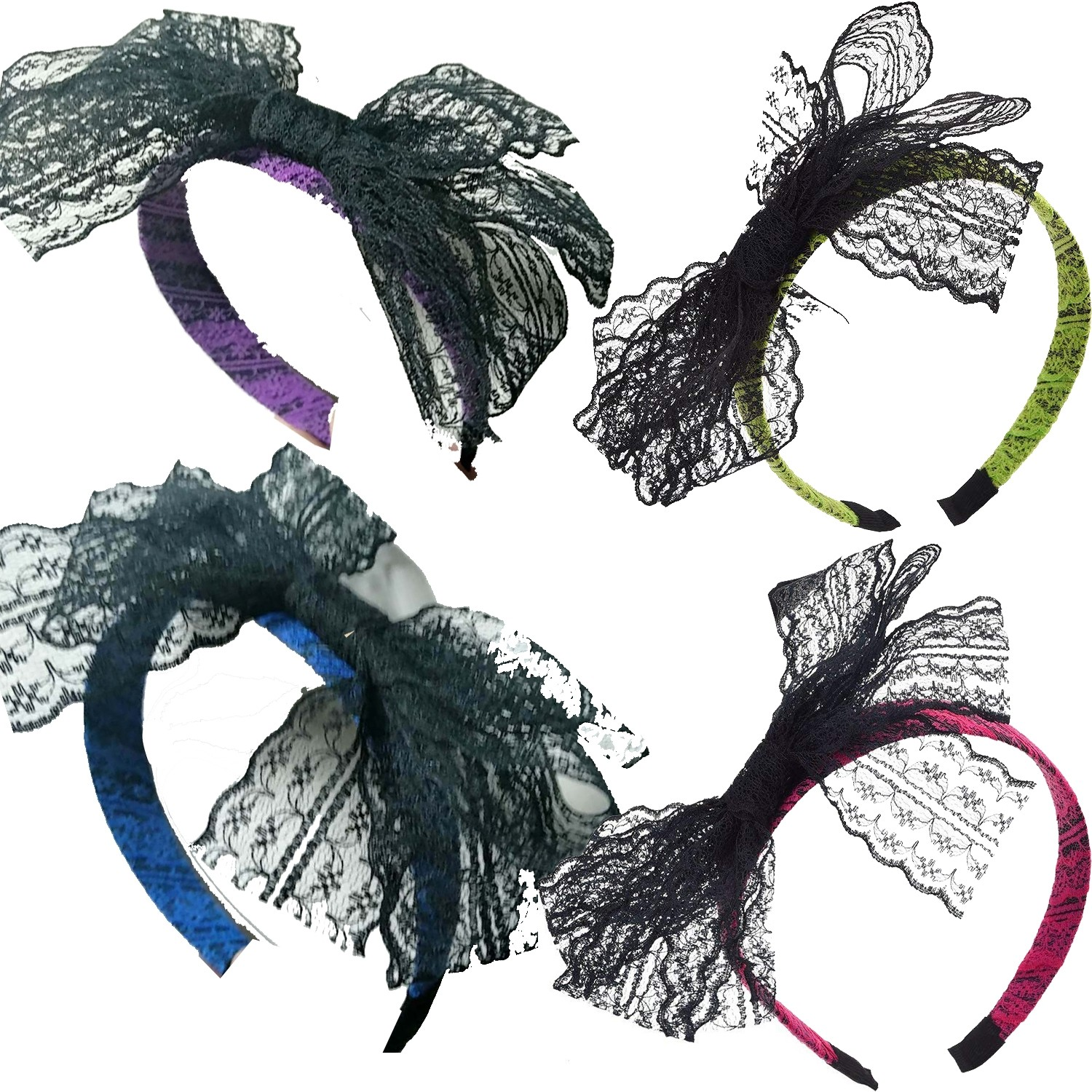 Hicarer 80 S Party Lace Headband With Bow 80s Headbands