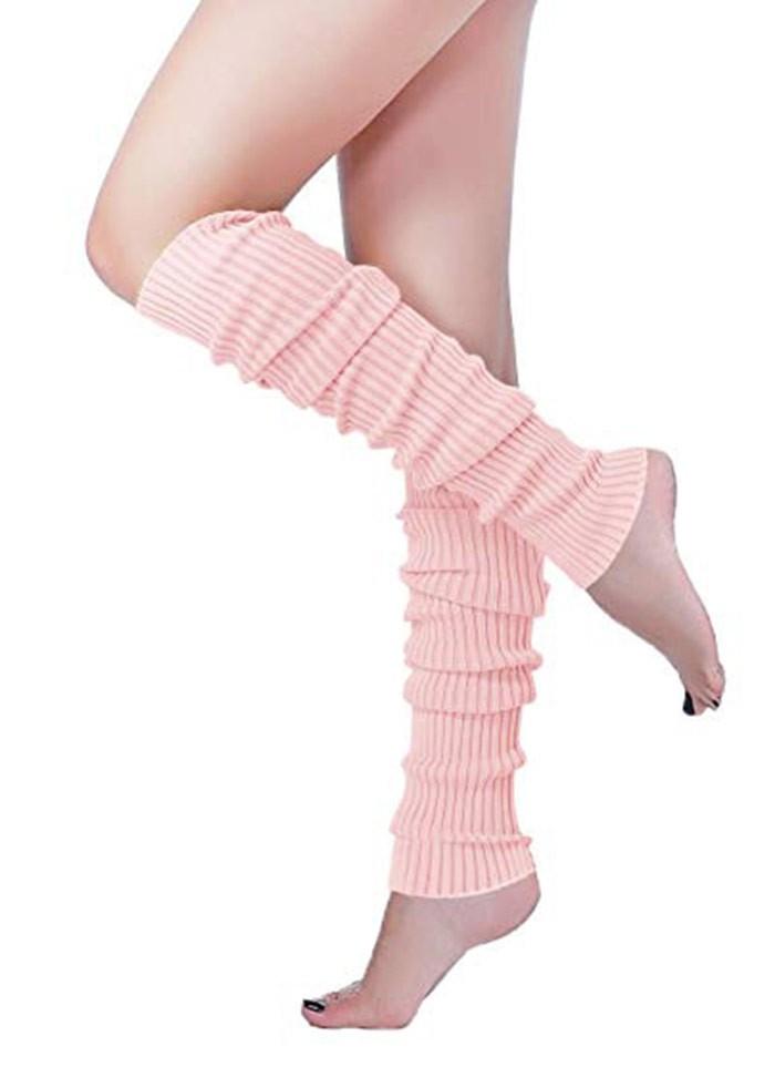 Girls Womens Plain Grey Leg Warmers 80s Fancy Party Dance Rave Ballet Legwarmers