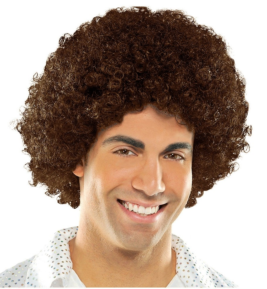 Mens Ladies Brown Funky Afro Wig 1970s 70s Disco Party Costume 70/'s Wigs